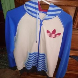 RARE adidas originals Blue Hooded Sweater M-L